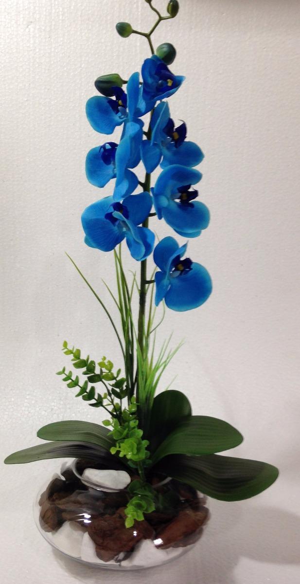 Arranjo De Orqudea Azul Em Silicone Em Vaso De Vidro  R