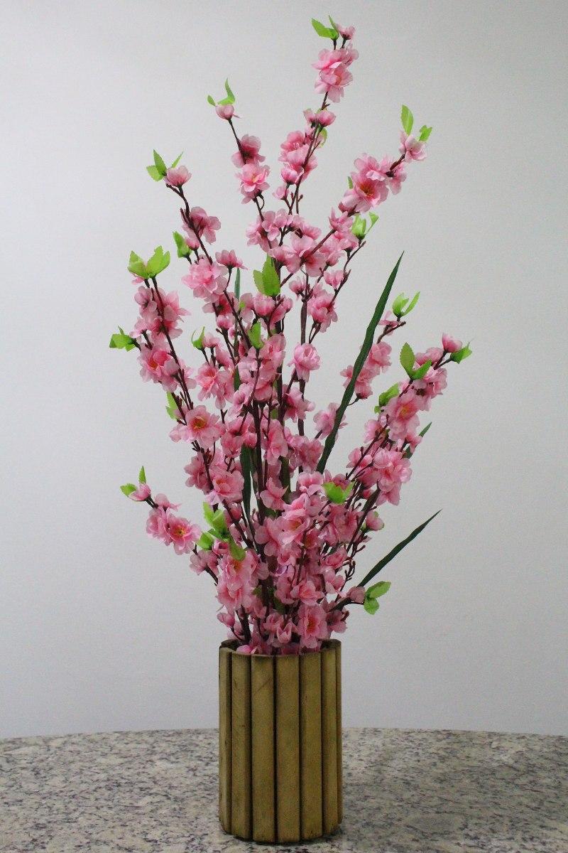 Arranjo Flor De Cerejeira Rosa Beb  Sakura  Vaso