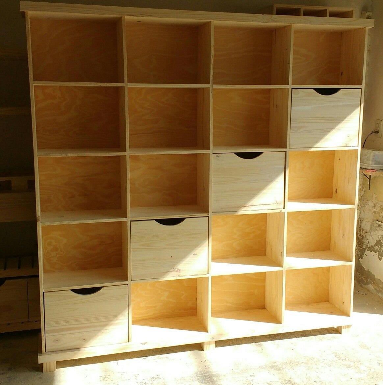 Astilla Muebles Biblioteca De Pino Con Cajones   5200