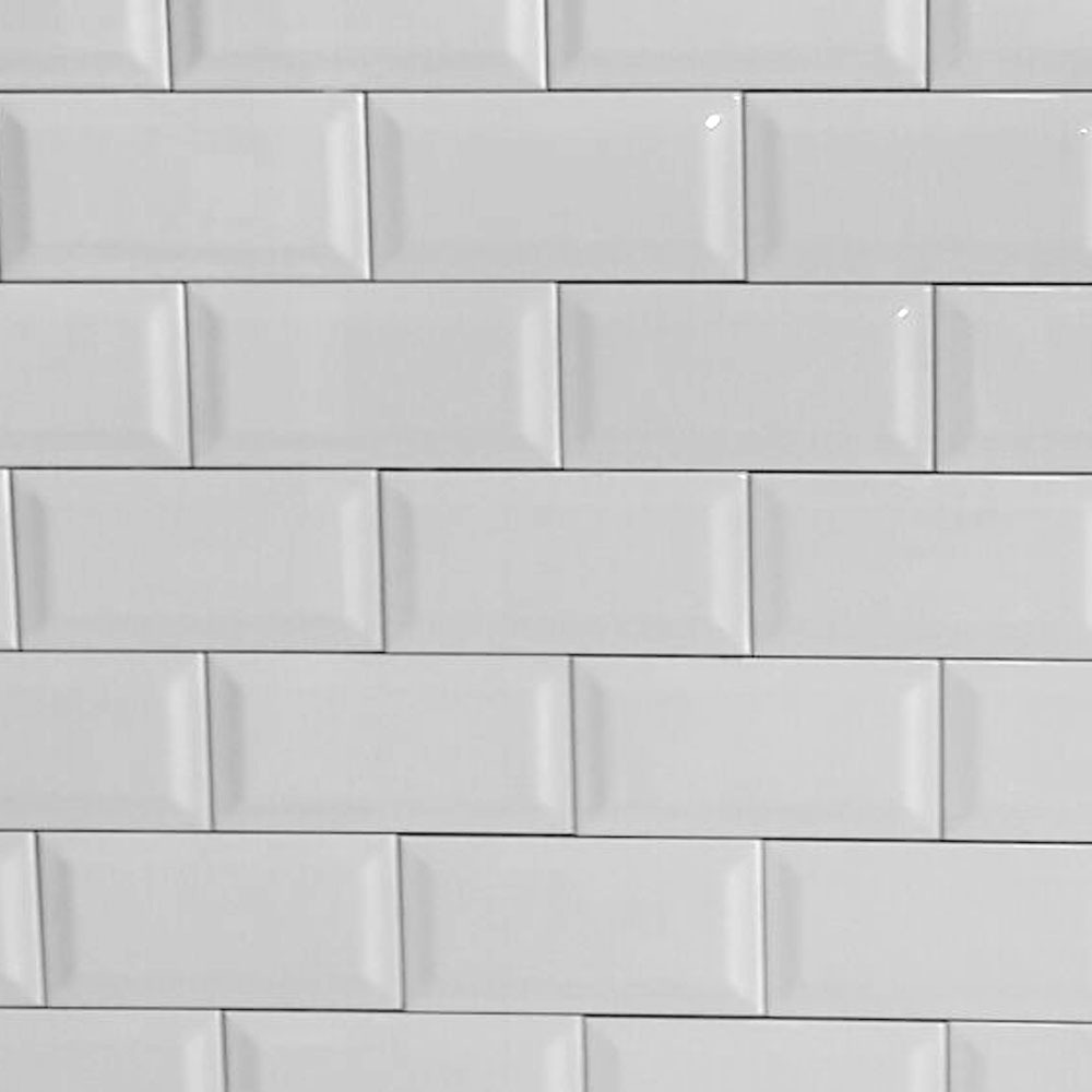 Azulejo Biselado Blanco Brillante Subway 75x15 Subte