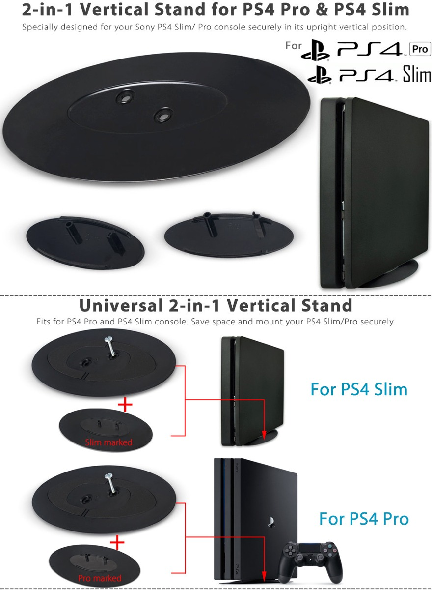 Base Vertical 2 In 1 Para Console Sony Ps4 Ps4 Slim Pro