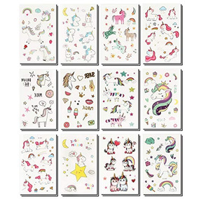 Beyumi 24 Hojas Unicornio Tatuajes Temporales Para Niños Y N