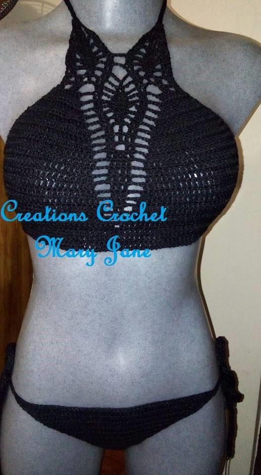 Bikini Traje De Bao Crochet  Tejido 100 A Mano