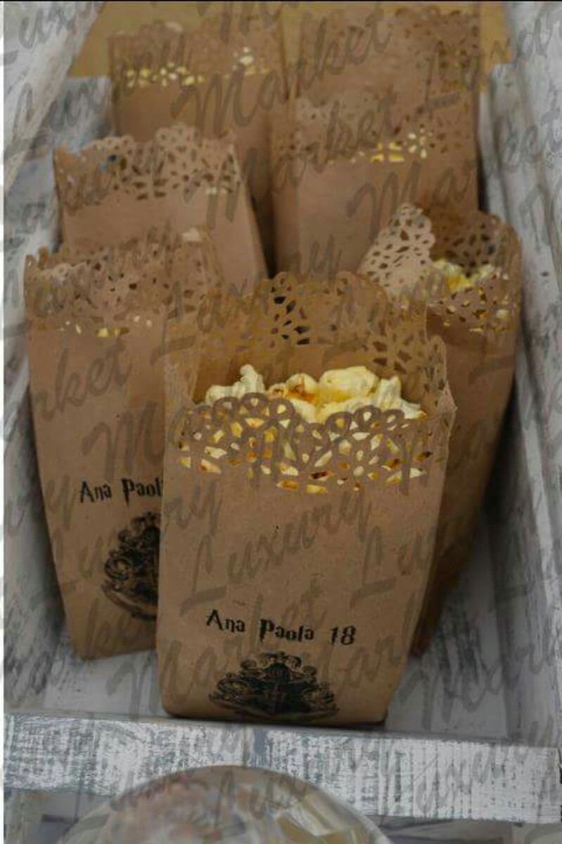 Bolsas Palomitas Papel Kraft Troquelada Personalizadas Bodas   11100 en Mercado Libre