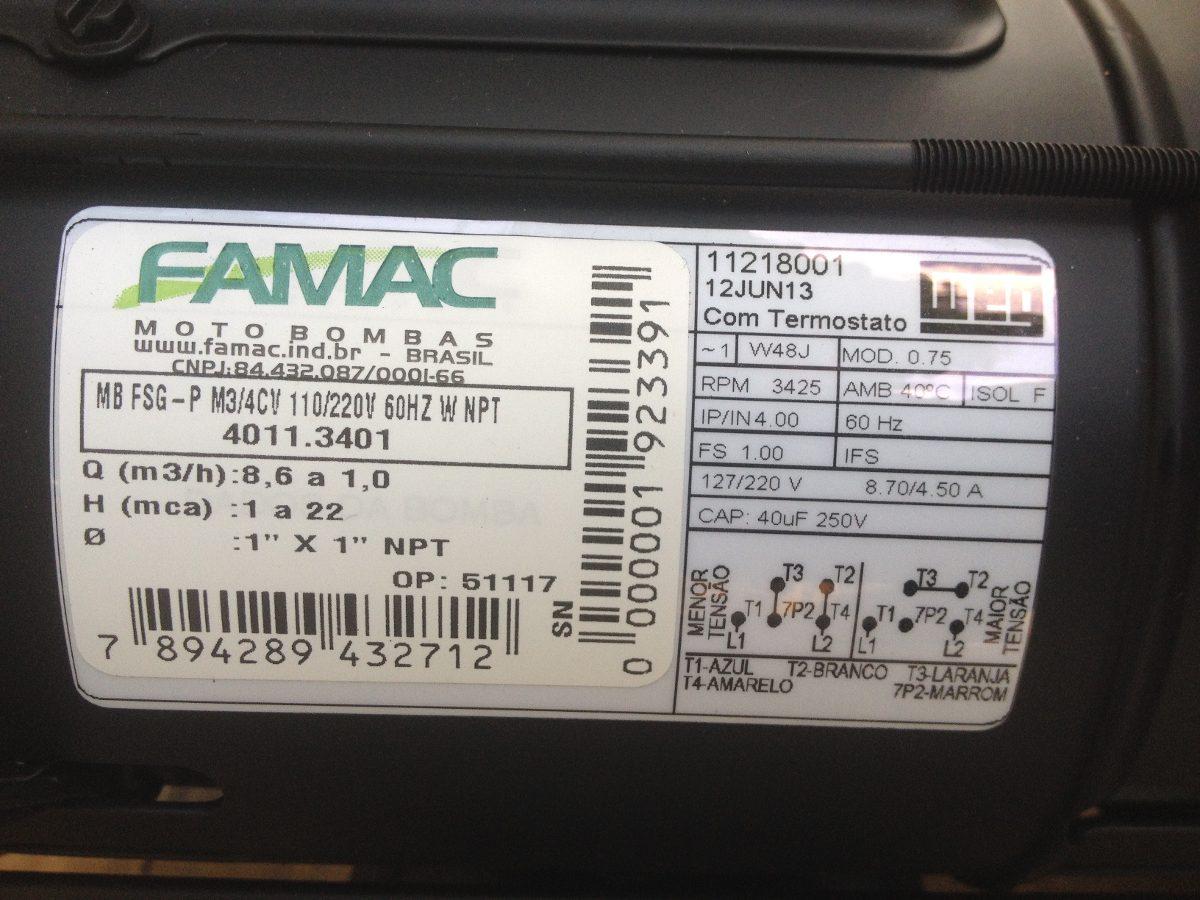 Bomba Centrifuga Famac 075 Hp 127220 Voltios Motor Weg