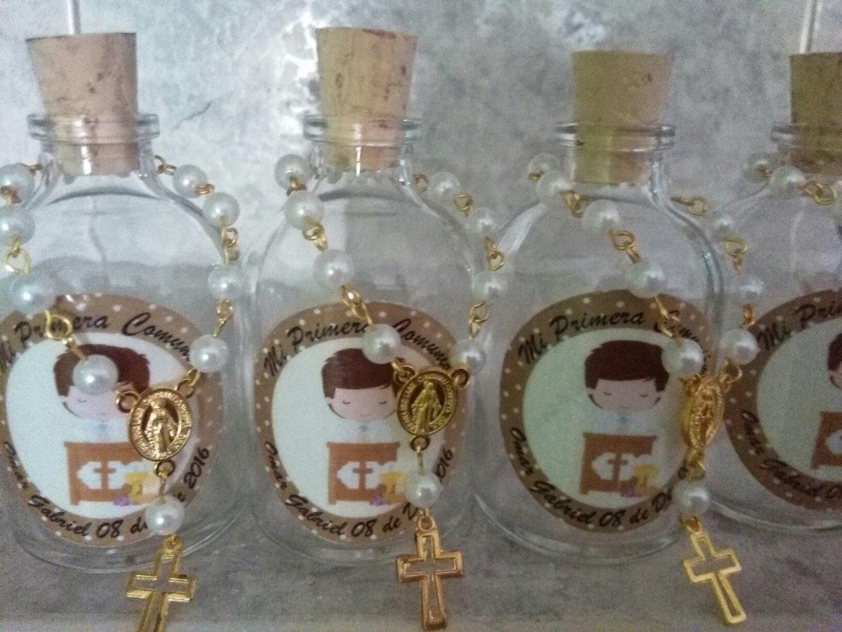 Botella Con Denario Recordatorio Bautizo Primera Comunion