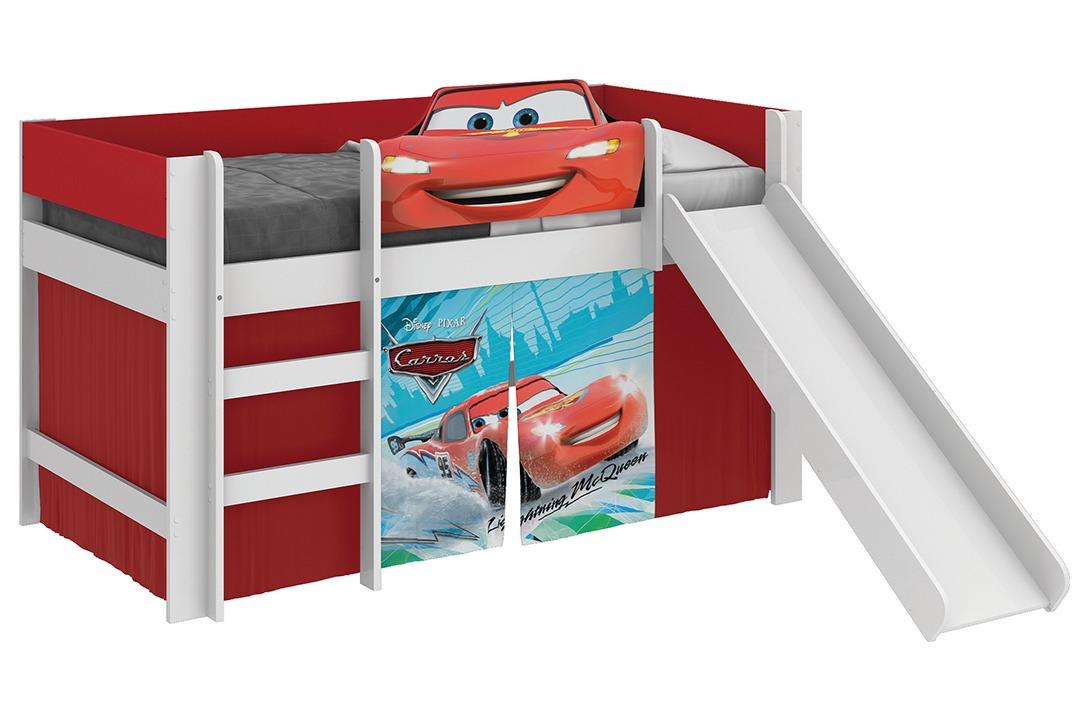 Cama Infantil C Escorregador E Cabana Carros Disney