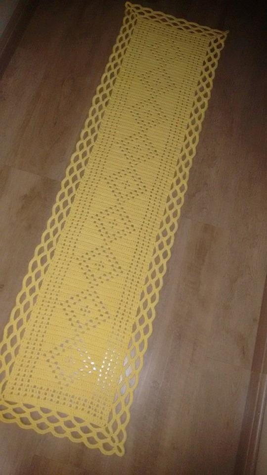 Caminho De Mesa Barbante Croche Amarelo 180cm X 45cm  R