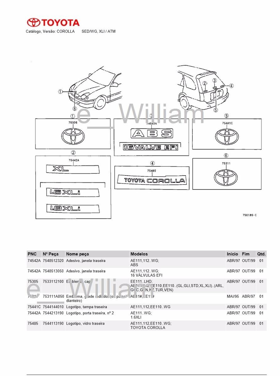Catalogo Peças Toyota Corolla Sed.wg Xli Motor 4afe 1997