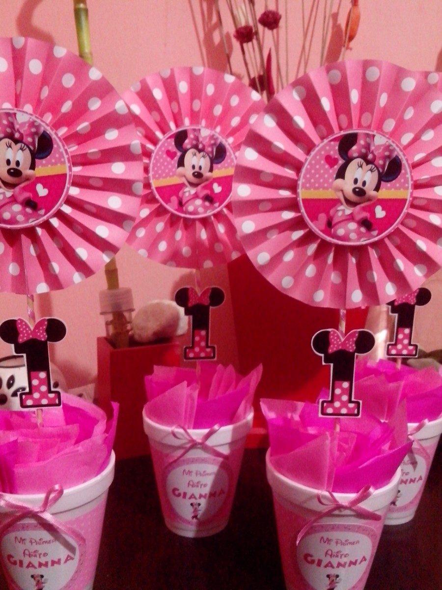 Centros De Mesa Infantil Minnie Rosa   5775 en Mercado