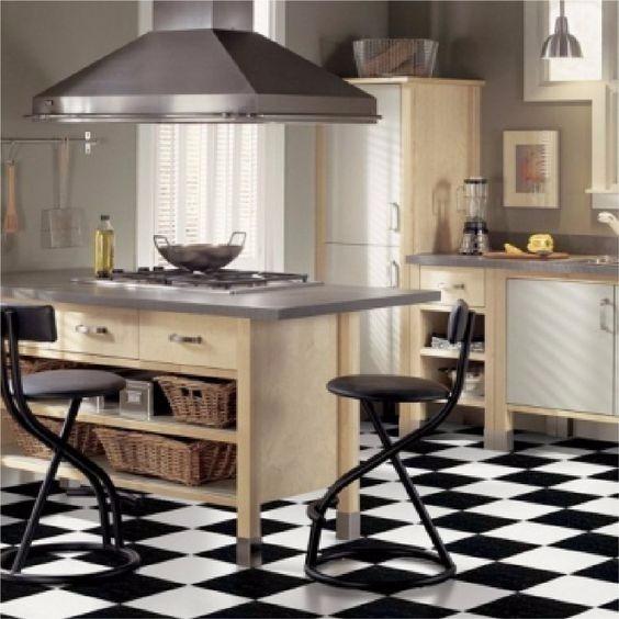Cermicas Piso Cocina Blanco Y Negro 36x36cm   7700 en