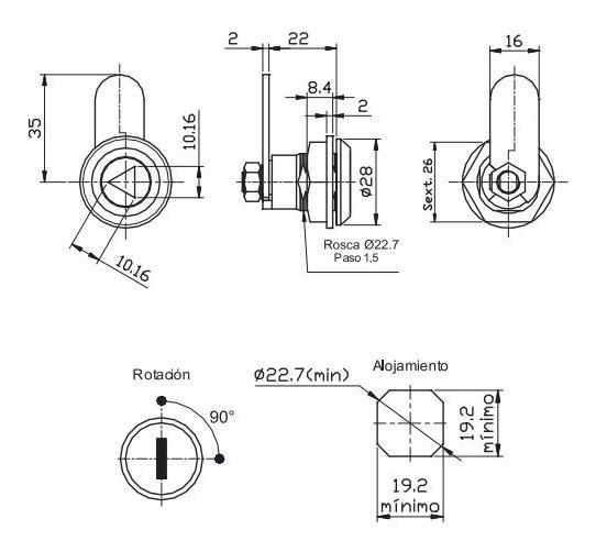 Cerradura Tablero Eléctrico + 1 Llave Metálica P