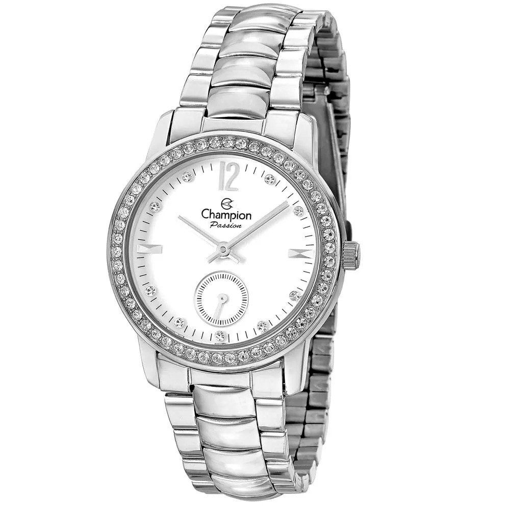 Relógio Champion Feminino Prata Strass Passion Ch38459q