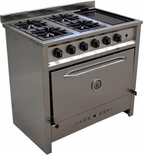 Cocina Industrial 4 Hornallas Y Plancha Total Acero Oferta