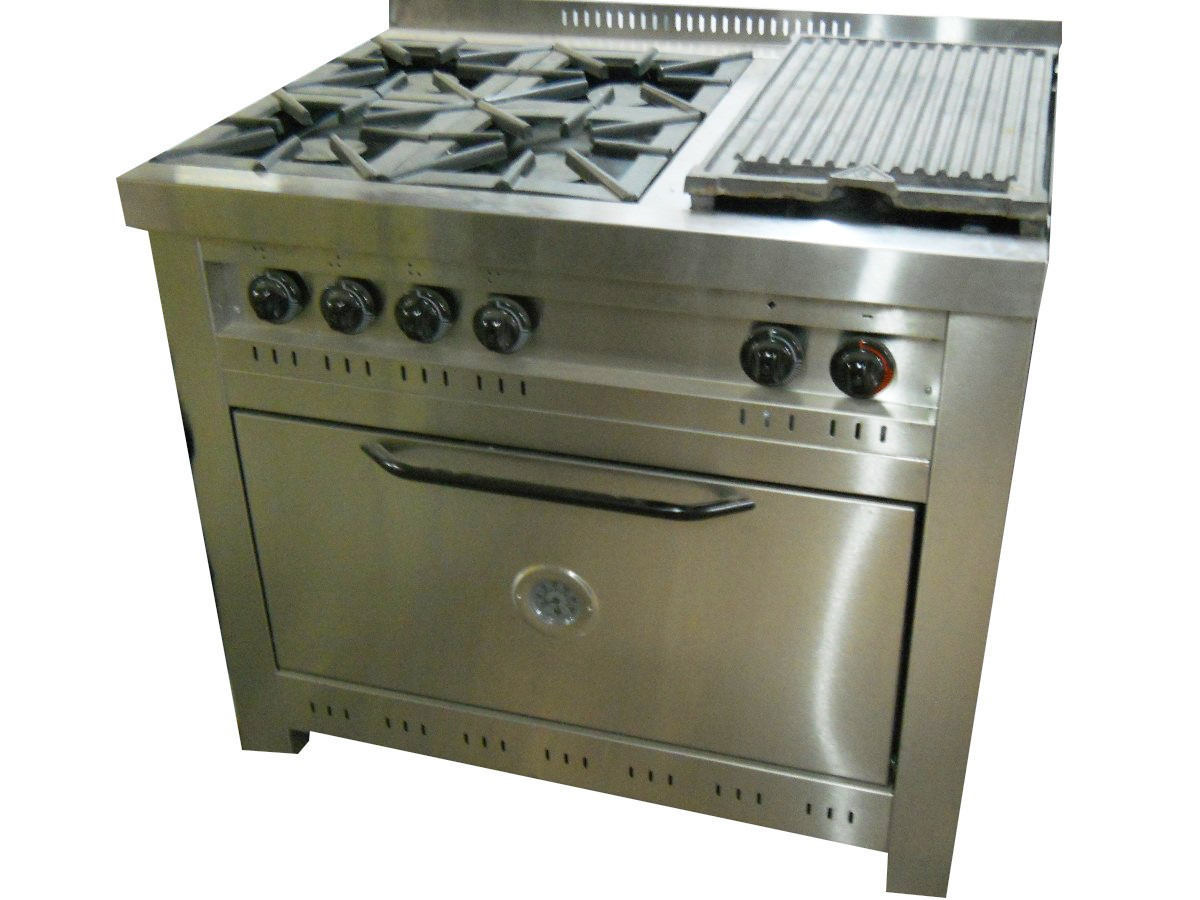 Cocina Industrial Corbelli 4 Hornallas  Plancha 100 Cm