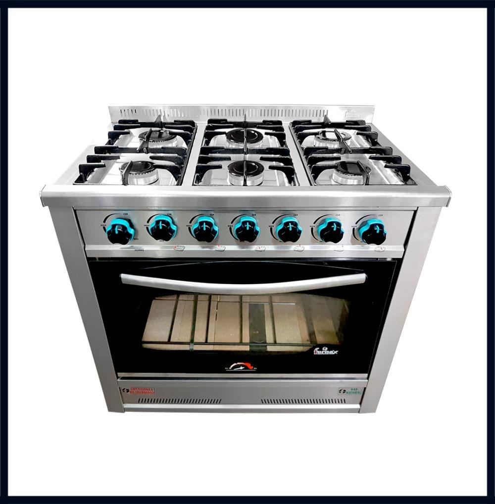 Cocina Industrial Fornax 6 Hornallas Acero 90 Cm Horno