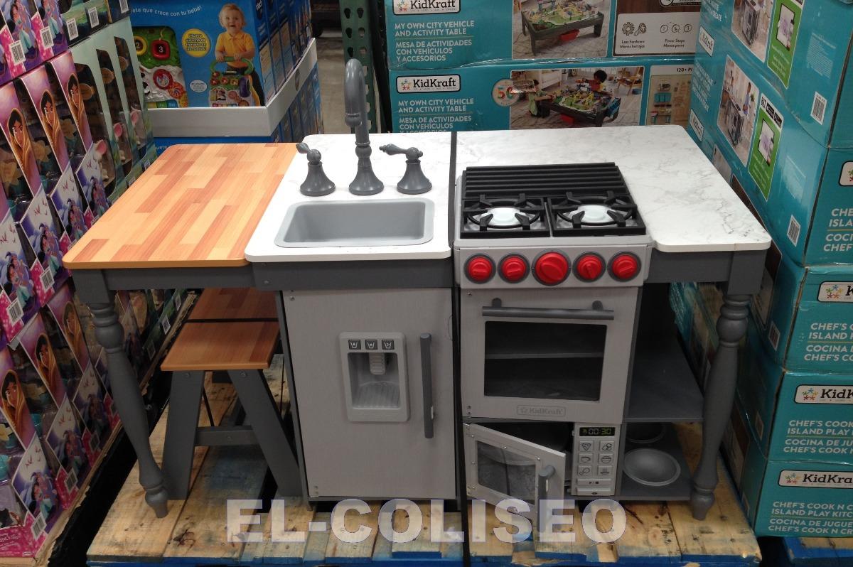 Cocina Tipo Isla Kidkraft Con Luz Y Sonido Banca Para