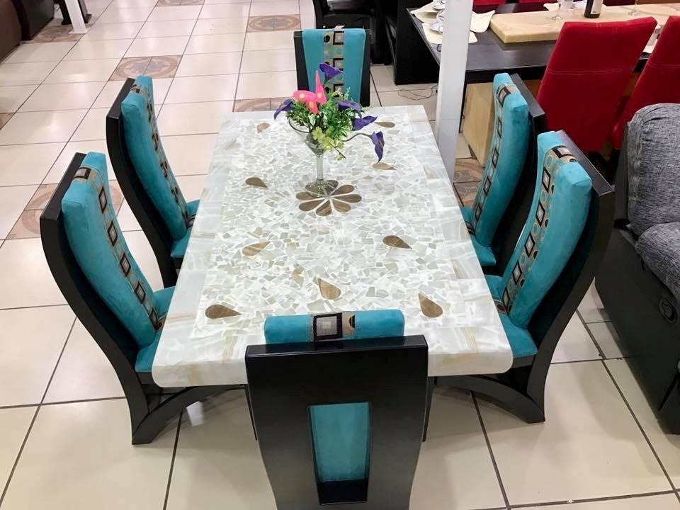 Comedor Moderno De 6 Sillas Base Y Cubierta Piedra Onix Mesa   2150000 en Mercado Libre