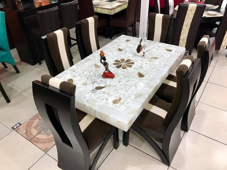 Comedor Moderno De 6 Sillas Base Y Cubierta Piedra Onix