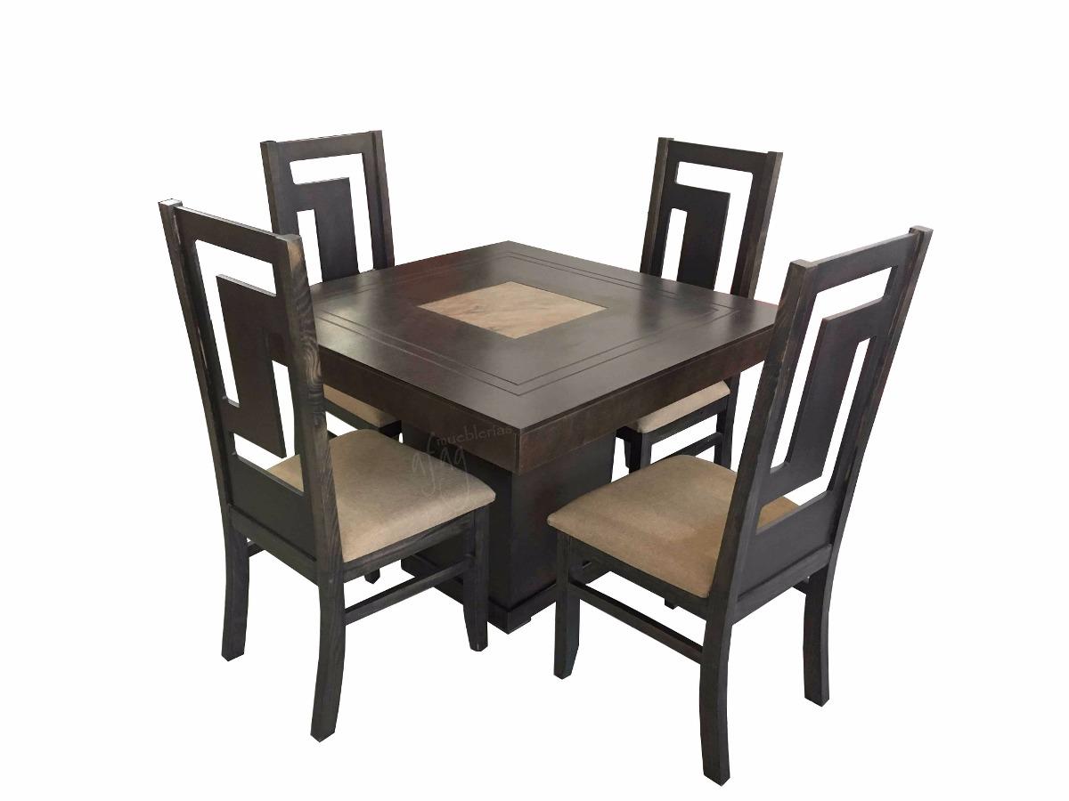 Comedor Vintage Olivo Mesa Cuadrada Y 4 Sillas   5990