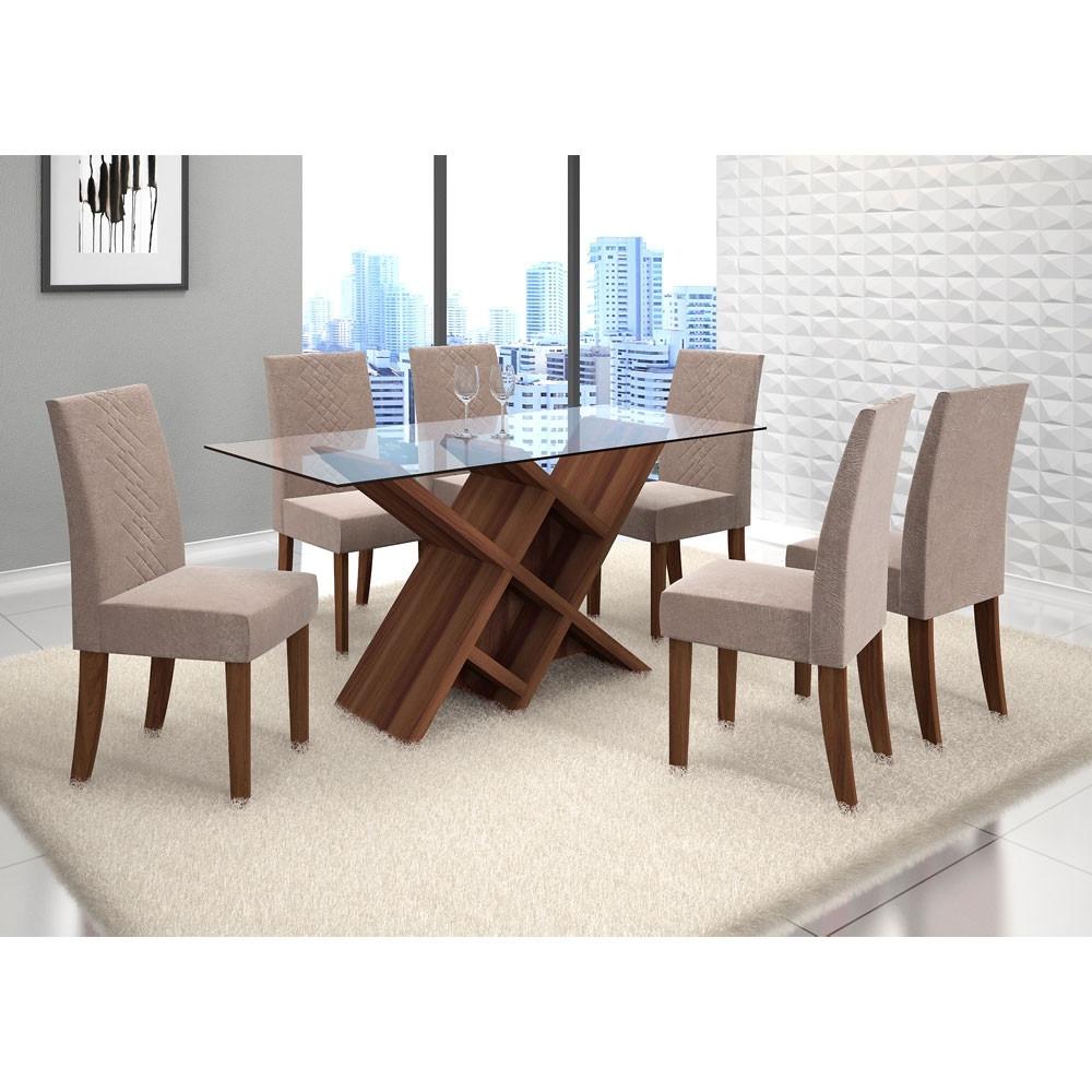 Conjunto Para Sala De Jantar Mesa E 6 Cadeira  R 1290