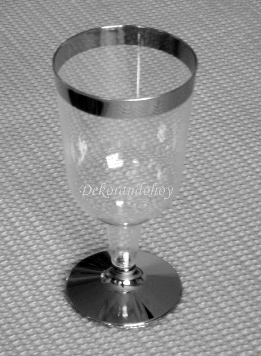 Copas Decoradas Plateado Desechables Plstico Mesa Brindis   32900 en Mercado Libre