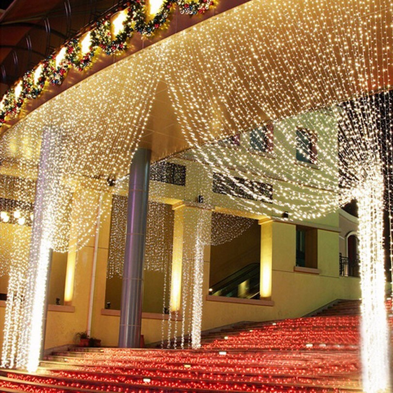 Cortina 500 Leds 28m X 25m Branco Quente Festas