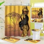 Exotic African Girls Bathroom Shower Curtain Toilet Cover Mat Non Slip Rug Set Shower Curtains Home Garden