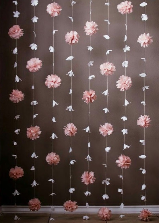 Cortina De Flores De Papel Background Decoracinfiestas