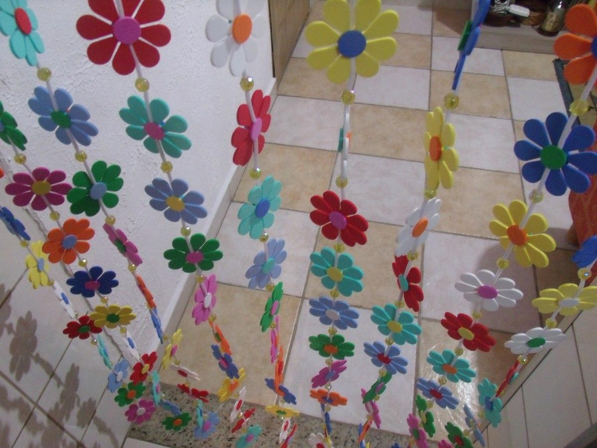 Cortina De Porta Em Flores De Eva Lavvel Artesanal  R