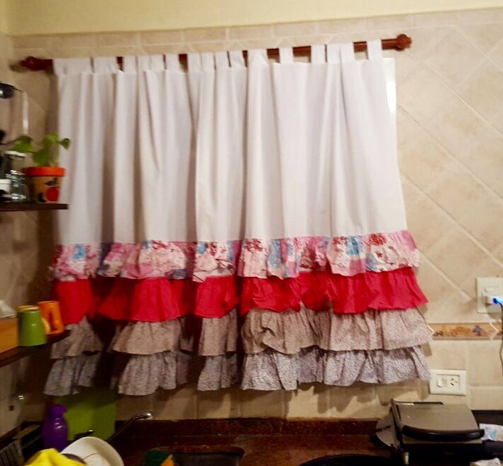 Cortina De Tela Para Cocina  2 Paos Ventana 1 M X 150
