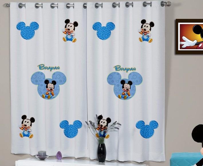 Cortina Infantil Mickey E Minnie Disney Personalizada Nome