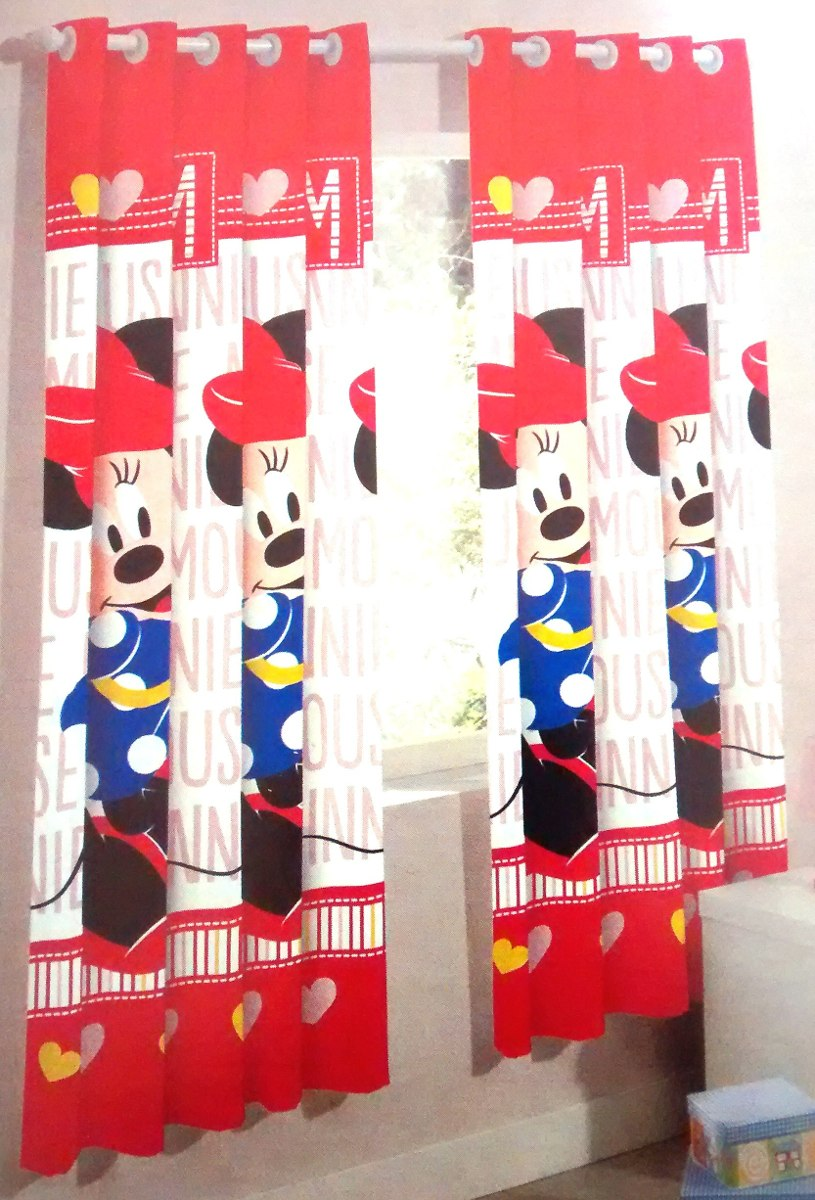 Cortina Infantil Quarto Menina Minnie Mickey Disney