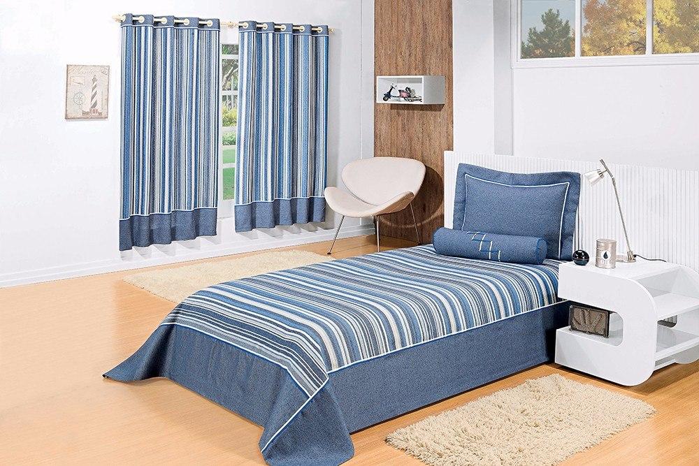 Cortina Jacquard Azul