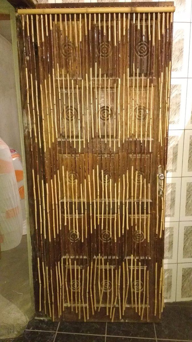 Cortina Porta Bambu Natural Feita A Mo 210x90cm  R 239