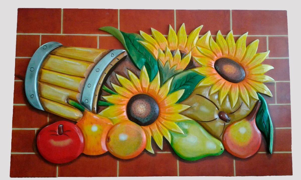 Cuadro Decorativo Tallado En Madera  Girasoles Y Frutas