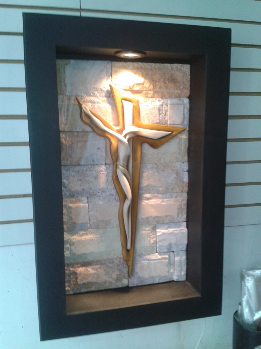 Cuadro Moderno Lampara De Pared Cristo Dali Con Luz