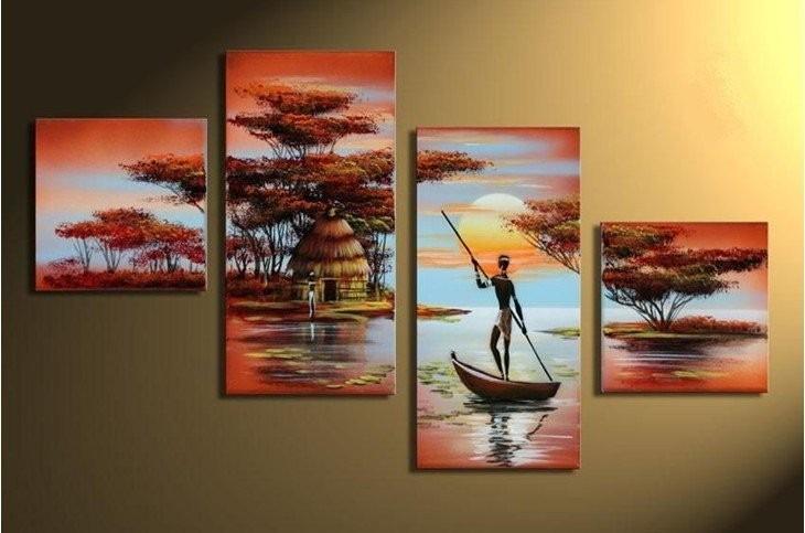 Cuadros Tripticos Modernos Paisajes Africanos Pintados