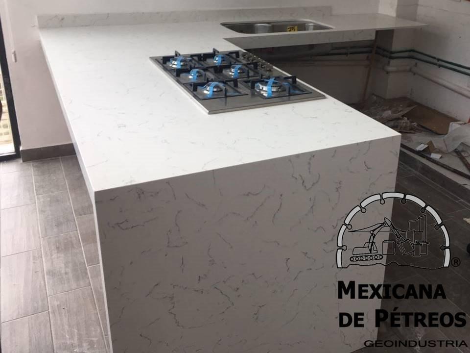 Cubiertas De Cuarzo Blanco Carrara Para Cocinas Integrales