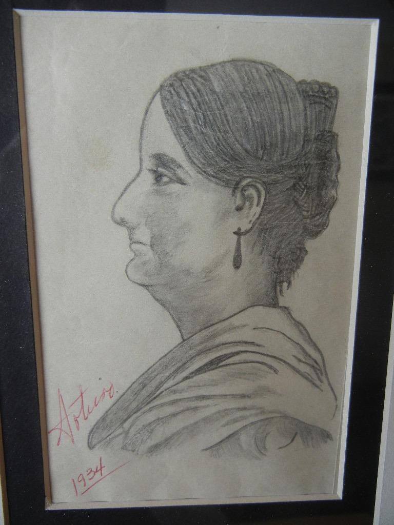 Dibujo Original De Josefa Ortiz De Dominguez 1934   550