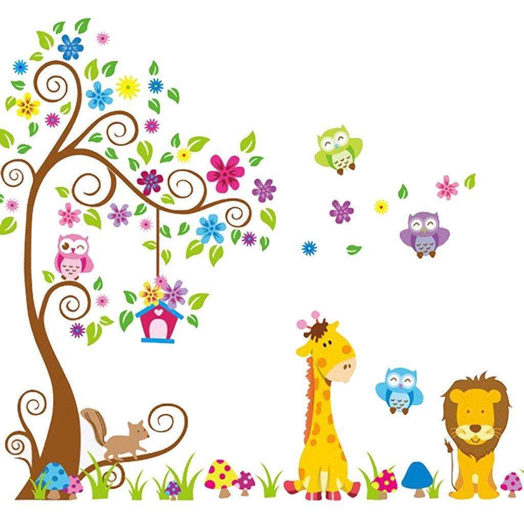 Dibujos Animados Jirafa Y Lechuzas Bho Scroll Tree Nurse
