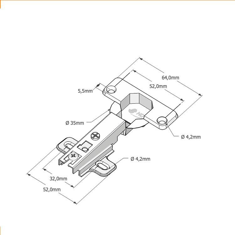 Dobradiça Amortecedor Porta Armário 35mm 25 Un Curva C178