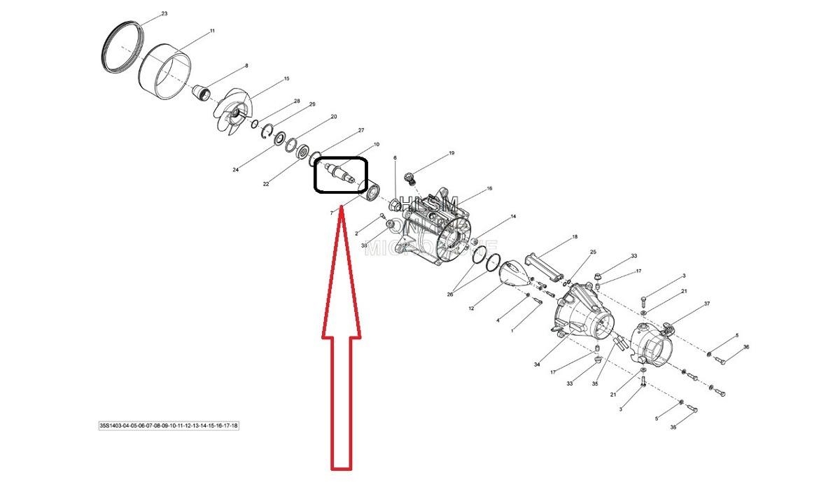 Eixo Turbina Sea Doo Jet Ski 4 Tempos Rxp / Rxt / Gti