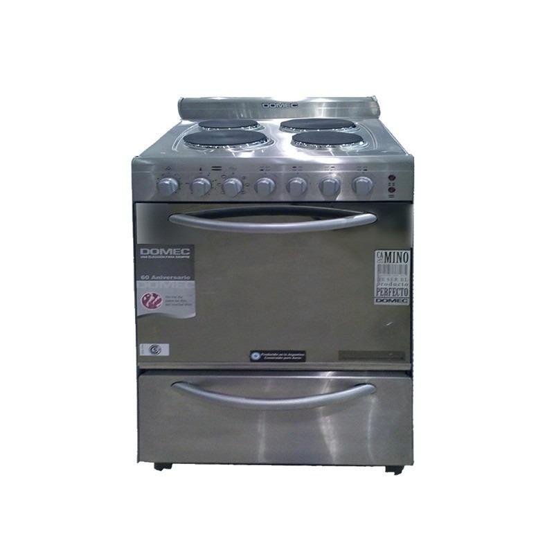 Cocina Elctrica Domec Luz Horno 56cm 4 Hornallas Acero