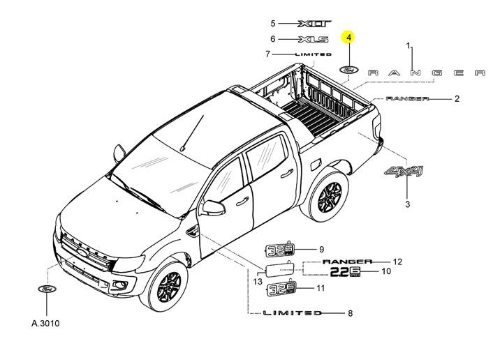 Emblema Ford Tampa Caçamba Ranger 12/ ** Leia A Descrição