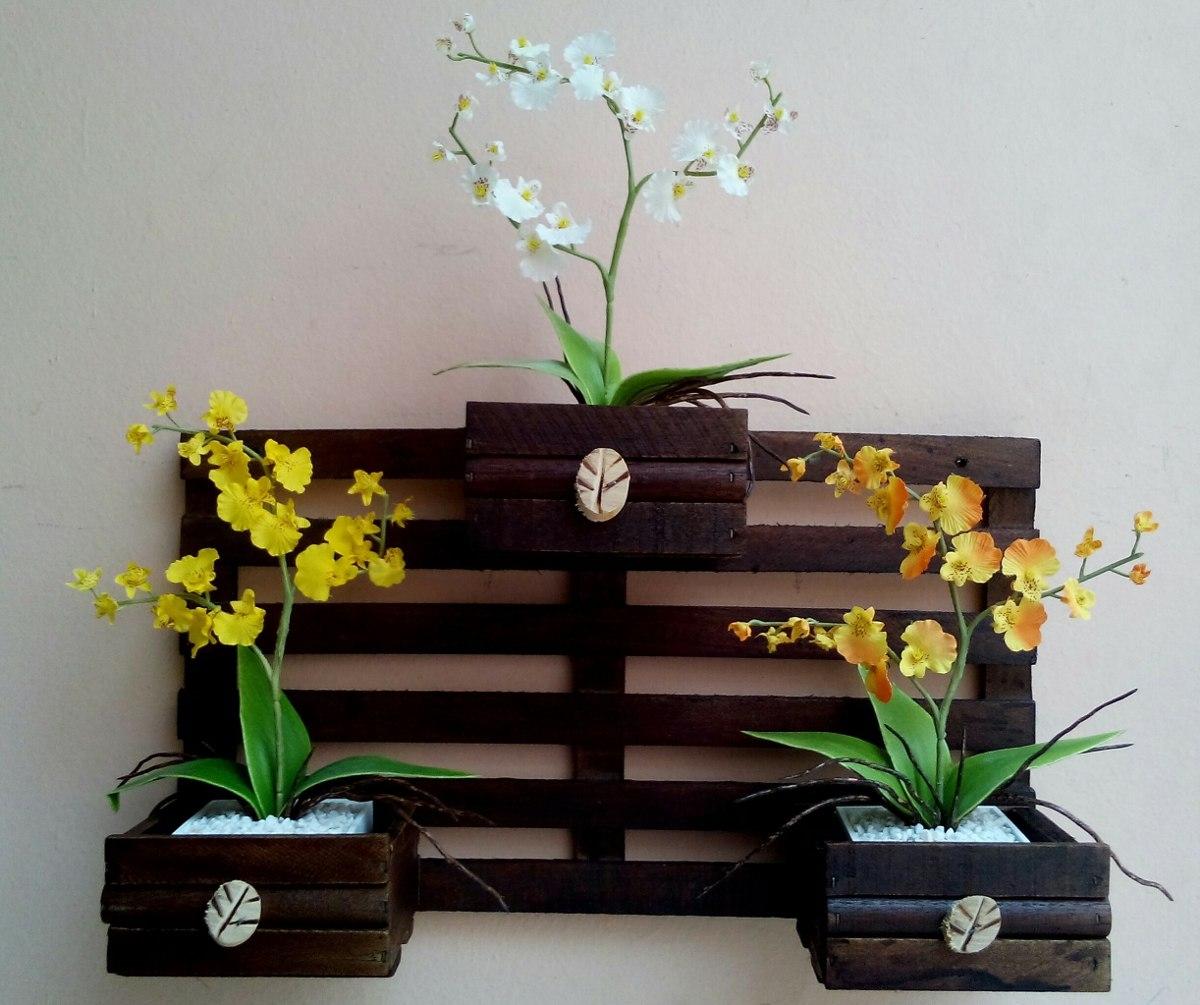 Enfeite Floreiramoldura De Madeira Para Parede Com 3