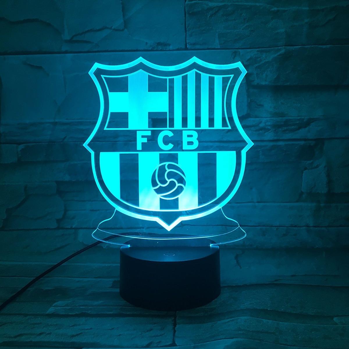 Escudo Fc Barcelona Lampara Efecto 3d Fan Camiseta Futbol