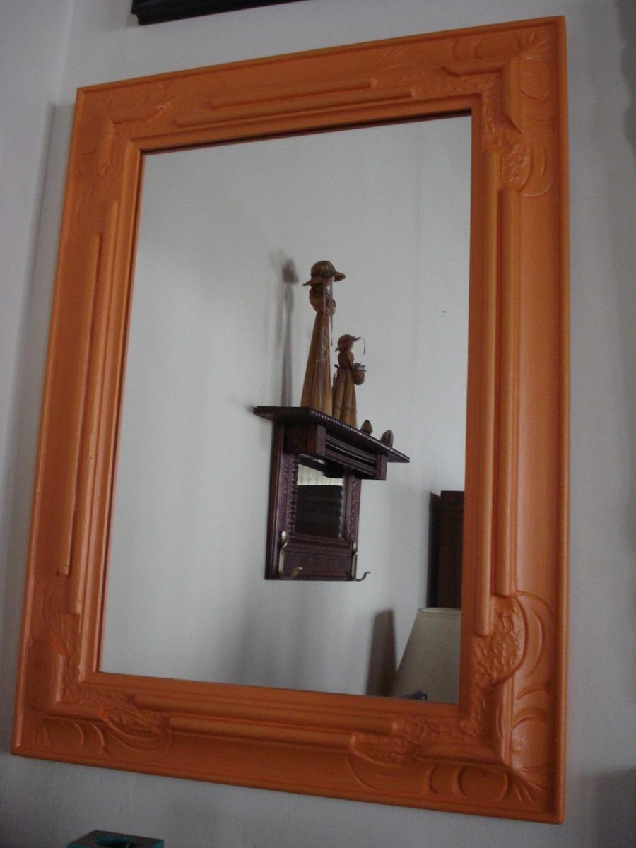 Espejo Patinado En Naranja Marco De Madera Tallada   1