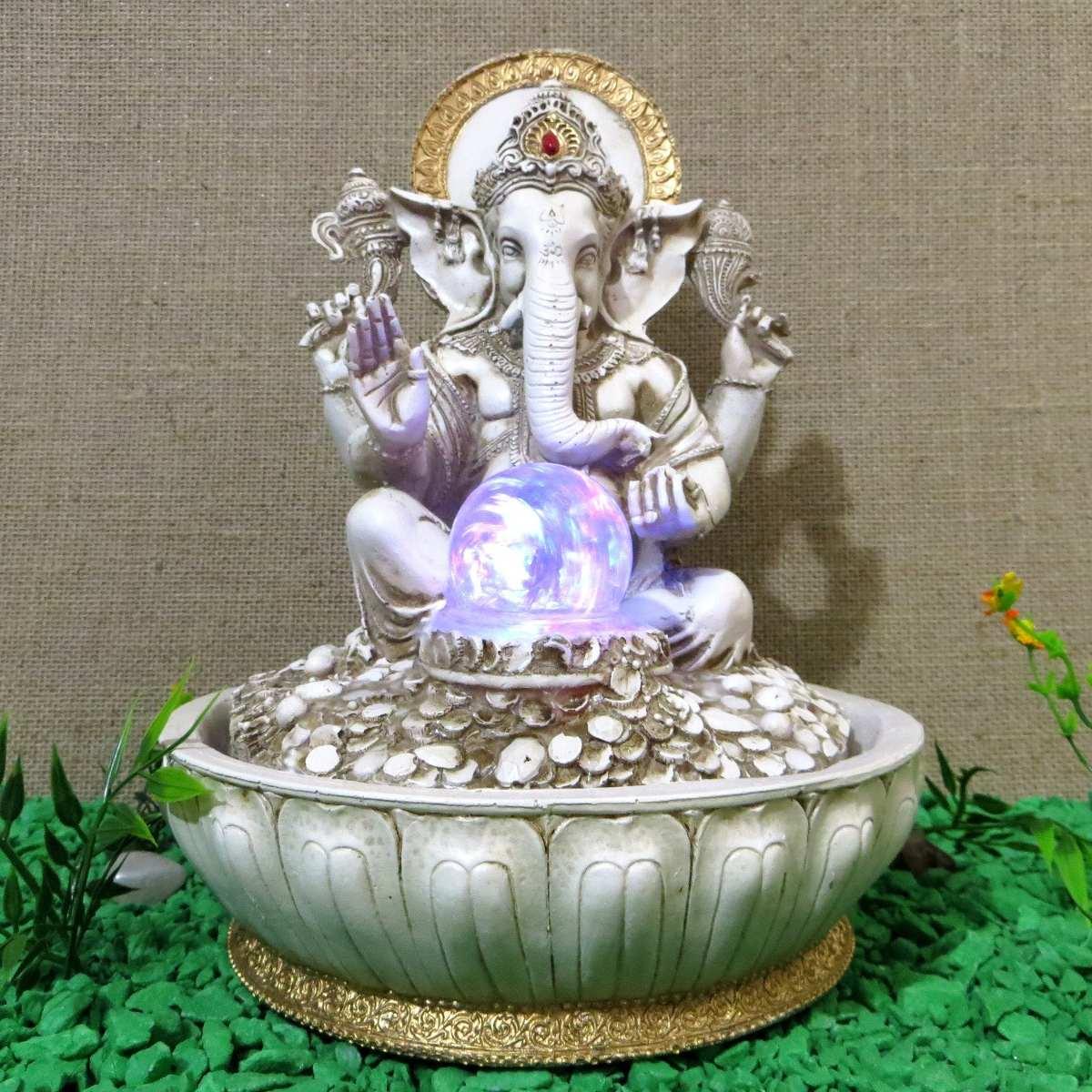 Fonte gua Ganesha Elefante Marfim Com Esfera Giratria
