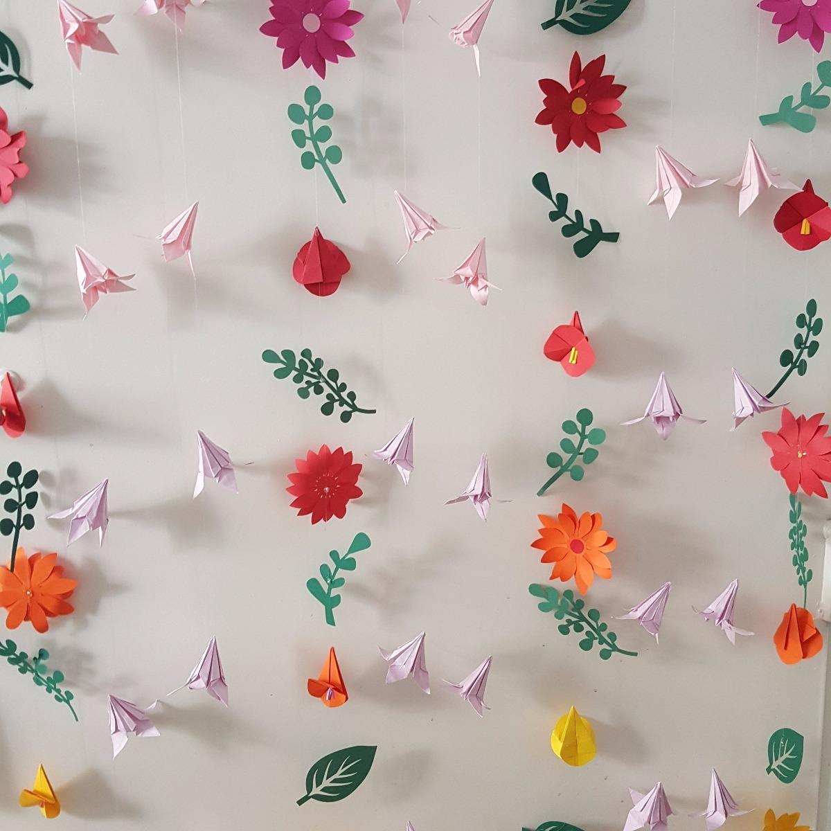 Guirnalda Cortina Flores En Papel Decoracin Ambientacin